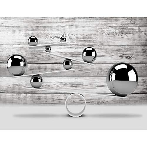 Fototapeten 3D - Graue Kugel 352 x 250 cm Vlies Wand Tapete Wohnzimmer Schlafzimmer Büro Flur Dekoration Wandbilder XXL Moderne Wanddeko - 100% MADE IN GERMANY - Runa Tapeten 9153011a