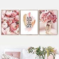 ピンクのバラの花の花瓶愛の引用壁アートキャンバス絵画北欧のポスターとプリント壁の写真リビングルームの家の装飾