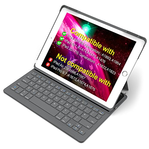 "Inateck iPad Keyboard Case for 9.7"" iPad 2018(Gen 6)/iPad 2017(Gen 5) and iPad Air 1 with Intelligent Magnetic Switch iPad Keyboard Cover, Dark Grey"
