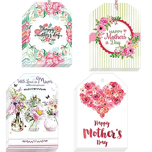 Happy Mother's day Gift Tags - 60 pieces Floral Printed Gift Wrap Label for Mom, Gift Bag Decoration, Candy Baking Packaging Supplies For Party Decor - Small Craft Paper Hang Card with 33 Feet Strings
