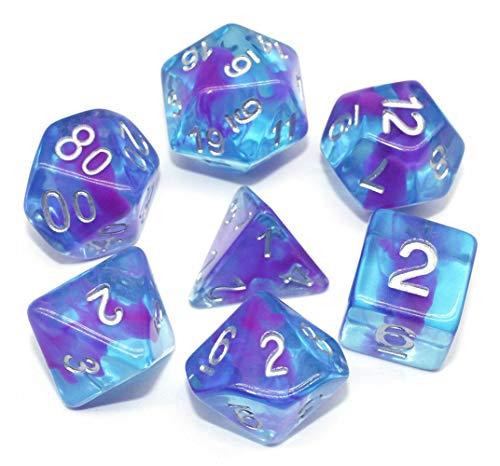 Dice DND Dice Set Fit Dungeons and Dragons D&D Pathfinder MTG Role Playing Games RPG Polyhedral Dice Blue Transparent Dice with Purple Swirls