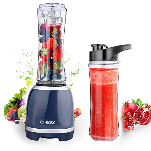 aikeec Mixer Smoothie Maker, Mini Standmixer mit 2x600ml Sport-Flasche, Blender elektrisch, Shake Mixer, Entsafter, für Shakes,Smoothie, EIS und Tiefkühlfrüchte, Babynahrung, 300W …