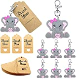 20 Pack Girl Baby Shower Return Gifts for Guests, Pink Baby Elephant Keychains + Thank You Kraft Tags for Elephant Theme Party Favors, Girl Baby Shower Favors, Birthday Party Supplies