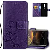 Nokia 6.1 (2018) Wallet Case Leather COTDINFORCA Premium PU Embossed Design Magnetic Closure Protective Cover with Card Slots for Nokia 6 2018. Luck Clover Purple