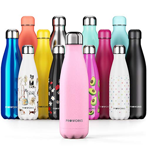 Proworks Edelstahl Trinkflasche | 24 Std. Kalt und 12 Std. Heiß - Premium Vakuum Wasserflasche - Perfekte Isolierflasche für Sport, Laufen, Fahrrad, Yoga, Wandern und Camping - 1 Liter - Pastell-Rosa