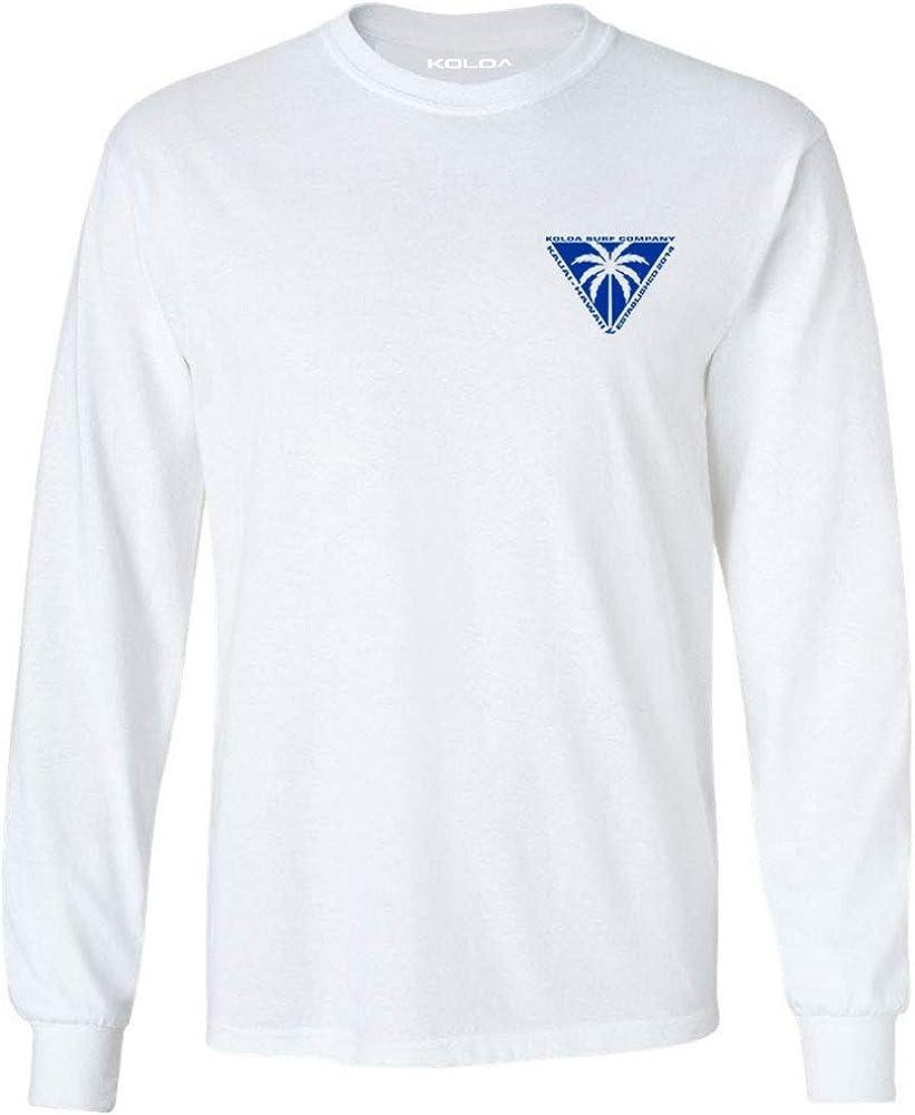 Koloa Surf Mens Triangulated Palm Logo Long Sleeve Tee-Tall-2XLT-White/blue
