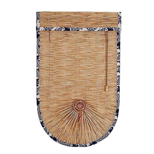 Ping BU Qing Yun Rodillo de Cortina de bambú - Cortina de láminas en Forma de Abanico con cordón Roman Blind Adecuado for el hogar Tienda Gabinete Cortina Partición Cortina 3 Colores (Varios tamaños)
