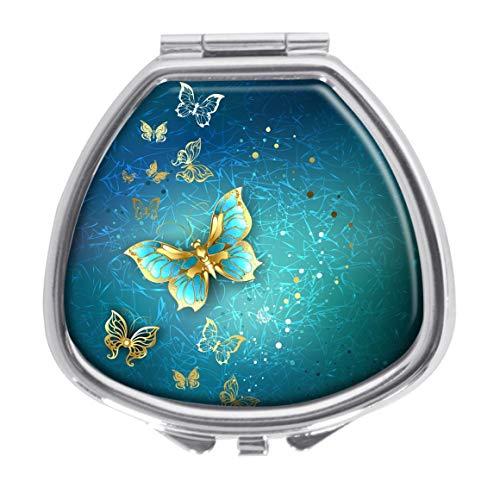 Udoosun Pill Box,Luxury Gold Butterflies Pill Case for Purse Pocket Pill Organizer Decorative Boxes Silver Single Compartment Travel Medicine Tablet