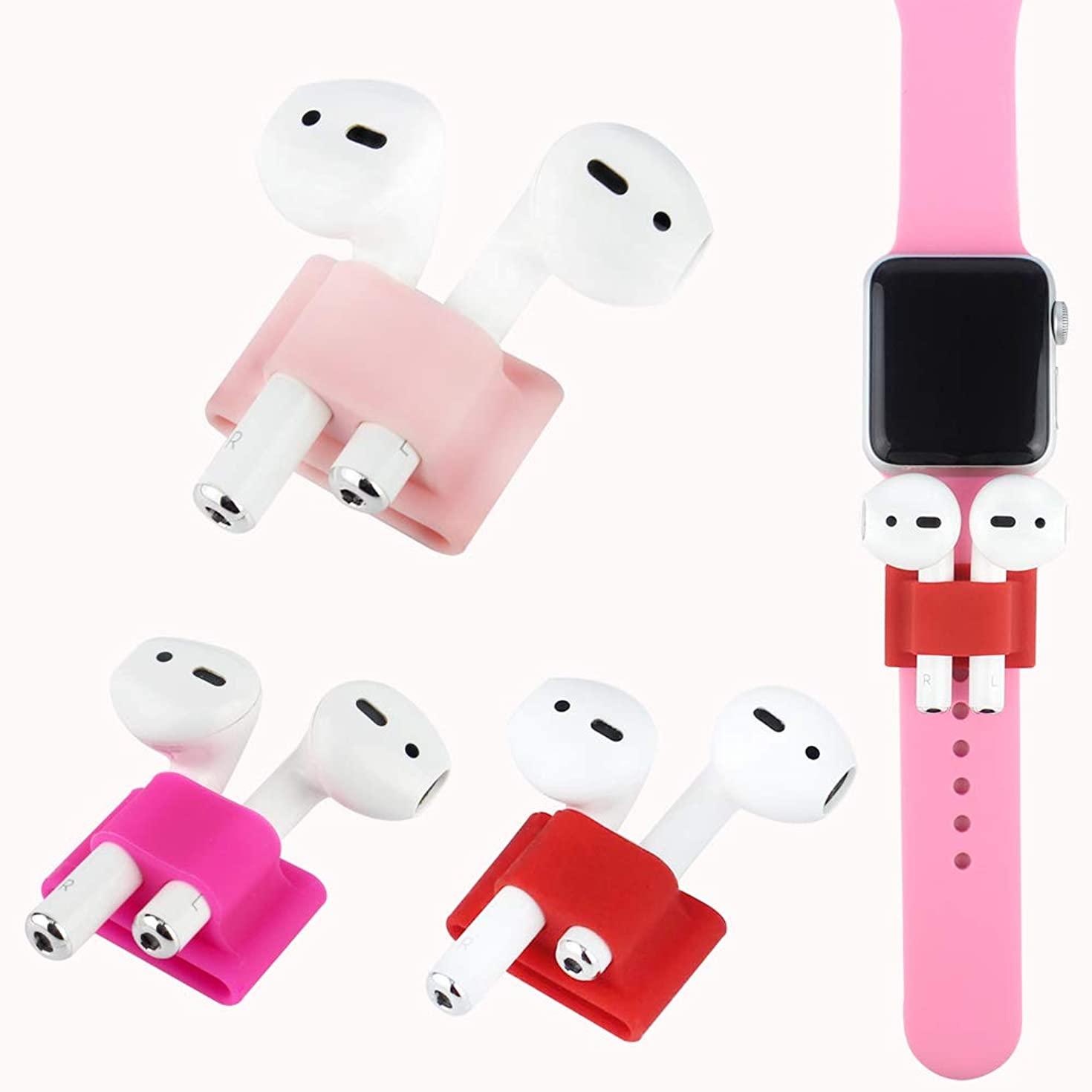 AirPods Band Holder [Airpods Watch Band Holder] [3 Pack] Silicone [Pink][Rose Red][Red] Stylish Minimalist Design, Perfectly Fits for Compatible with Apple AirPods