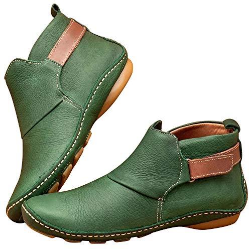 Huaheng lederen enkellaarzen herfst vintage vrouwen schoenen comfortabele platte hak laarzen korte laarzen 40 Groen