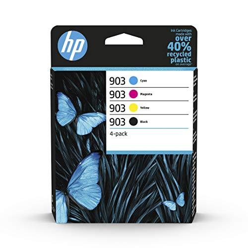 HP 903 Pack de 4 Cartouches d'Encre Noire, Cyan, Magenta, Jaune Authentiques (6ZC73AE) pour HP OfficeJet 6950, HP OfficeJet Pro 6960 / 6970