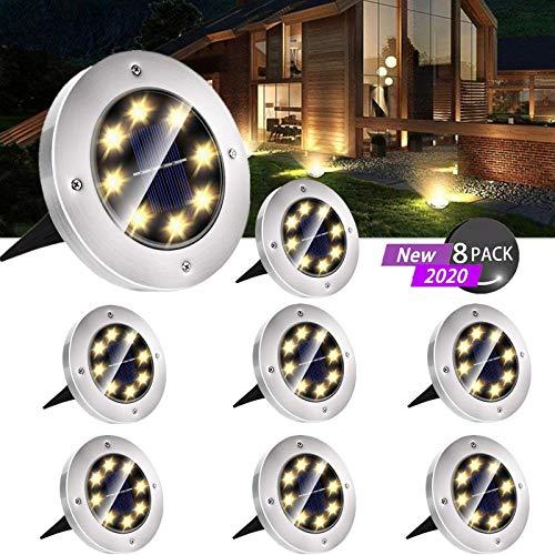 Solar Bodenleuchten Aussen, LED Gartenleuchten Solar IP65 Wasserdicht Solarlampen Solarleuchten für Außen Solarlicht Garten Licht für Rasen, Auffahrt, Garten, Pathway, Patio, Hof - Warmweiß (8 Packs)