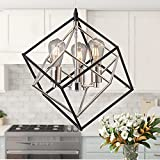 3-Light Modern Chandeliers Geometric Dining Room Light Fixture Industrial Pendant Light Mid-Century Ceiling Hanging Lamp for Entryway, Hallway, Kitchen, Foyer, Living Room, Farmhouse (Black & Chrome)