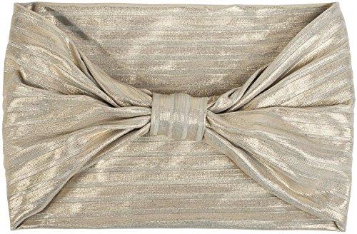 styleBREAKER Damen Glitzer Haarband mit Schleife in Metallic Streifen Optik, Stirnband, Headband, Haarschmuck 04026017, Farbe:Hellgrau/Gold