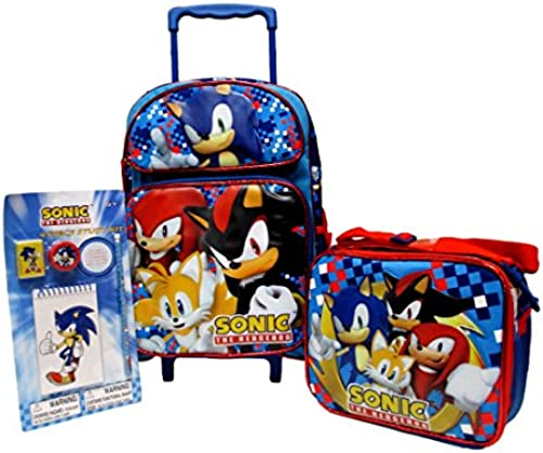 Sonic The Hedgehog Large 16 Rolling Backpack, Lunch Box & Stationery Set