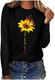 Youmymine Women`s Long Sleeve Sunflower Print Fashion Casual T-Shirt Plus Size
