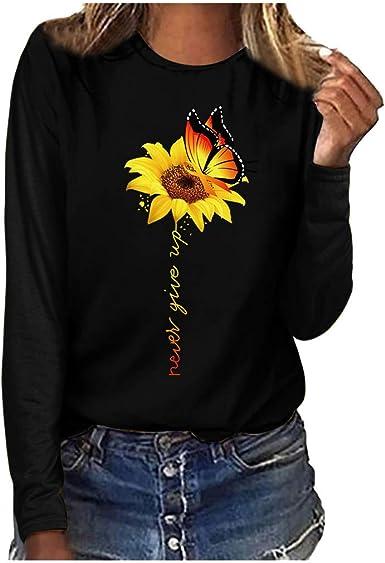 Casual Mujer Camisetas con Estampado de Girasol Mariposa Grandes Manga Blusa y Camisa de Manga Larga