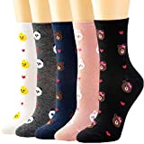 5 Pairs Women Crew Socks Casual Cute Cotton Plaid Socks Long Ankle Socks Design for Women Ladies Girls WCS1-Bear -  Losa Kute