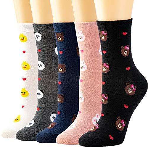 5 Pairs Women Crew Socks Casual Cute Cotton Plaid Socks Long Ankle Socks Design for Women Ladies Girls WCS1-Bear -  Losa Kute
