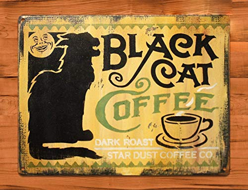 Nonbrand Funny Fantastic TIN Sign Black Cat Coffee Food Wall 8x12 inches