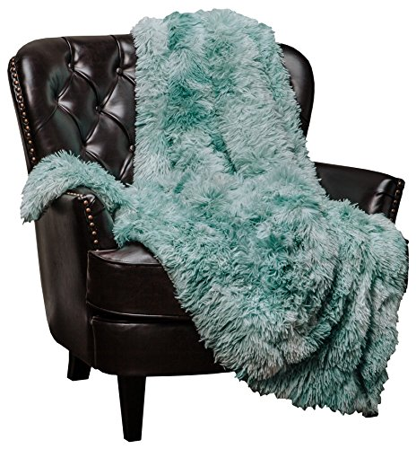Chanasya Super Soft Shaggy Fuzzy Fur Fluffy Faux Fur Warm Elegant Cozy with Sherpa Color Variation Pattern Print Dark Gray Microfiber Throw Blanket (50' x 65') -Charcoal
