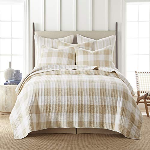 Levtex Home - Camden Quilt Set -King Quilt + Two King Pillow Shams - Buffalo Check in Taupe and Cream - Quilt Size (106 x 92 in.) and Pillow Sham Size (36 x 20 in.) - Reversible Pattern - Cotton