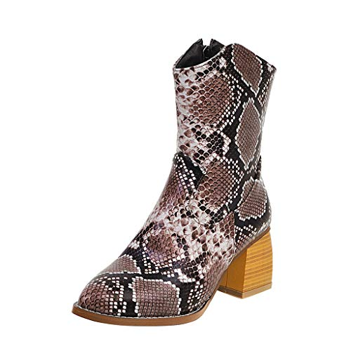 Frauen Snake Print Stiefeletten Damen Mode Slip-on Strap Starke High Heel Retro Winter Ankle Boots Booties(37 EU,Braun)