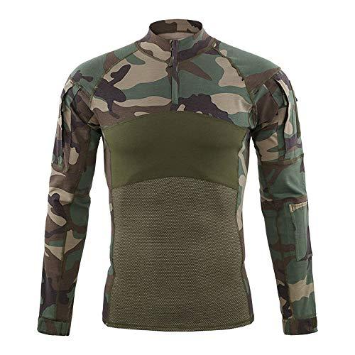 Sici Camisa Táctica de Manga Larga para Hombre Camisa Militar Camisa de Combate al Aire Libre Camisa de Combate Táctica con Cremallera
