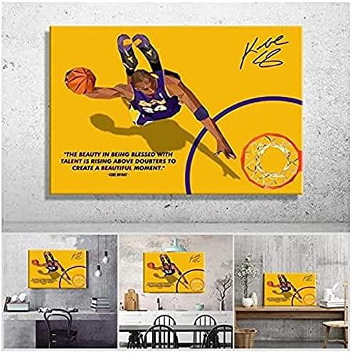 ZRRTERL Jugadores De Baloncesto Profesionales Estadounidenses Cuadro De Arte De Pared Lienzo Póster Impresión Pintura Minimalista Decoración-50X75Cm Sin Marco