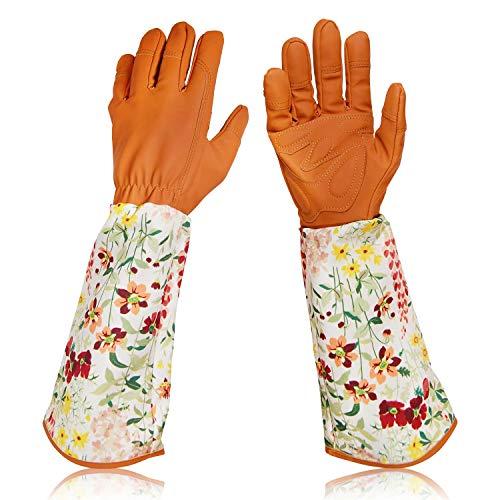 Lang Gartenhandschuhe für Damen, Rosenschnitt Handschuhe, schöne dornensichere Gartenhandschuhe mit Langen Ärmeln aus Segeltuch zum Blumen Pflanzen