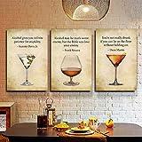 EDGIFT2 Triptychon Bar Dekor Drink Bar Leinwand Malerei