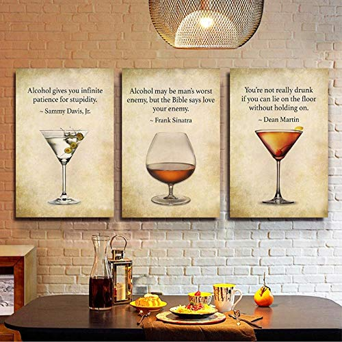 Slagman Bar Decor Drink Quote Bar Wall Art Canvas Painting Rat Pack Frank Sinatra Sammy Davis Dean Martin Whiskey Art Print Posters 3550Cm3
