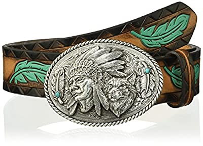Ariat Women's Turquoise Feather Chief Wolf Buckle Belt, brown, Medium