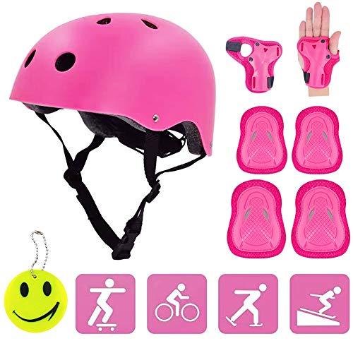 Helm und Pads Kinder Fahrradhelm Schutzausrüstung Set mit PVC Reflectivo koychain für 3-8 Jahre alt Fahrrad Skateboard Rad Skates Kinder Verstellbarer Helm Handgelenkschutz 8 Stück Set (Rose Red)