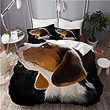 CVSANALA Juego de Ropa de Cama con Funda de edredón, de Microfibra, Beagle Cachorro Retrato Acuarela,con 2 Fundas de Almohada,140x200