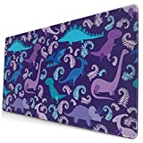 SKRMOU Abstract Cartoon Dinosaur Gaming Mouse Pad,Extended Large Mouse Mat Desk Pad,Stitched Edges Mousepad, Long Non-Slip Rubber Base Mice Pads 29.5x15.7in Keyboard Mouse Pad