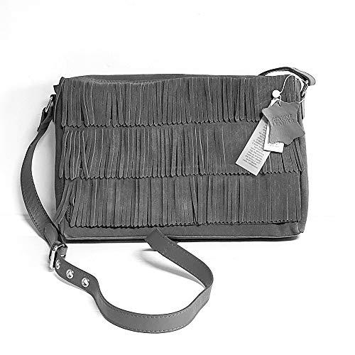 PIECES Damen Leder Tasche, Fransentasche, Schultertasche,Umhängetasche Fransen echt. Wildleder (Grau)