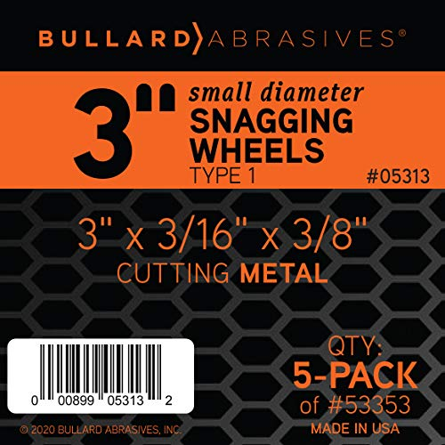 Bullard Abrasives 53353, Lightning Performance, TA36T, Small Diameter Snagging Wheels, 3 x 3/16 x 3/8, T1 (Pack of 5)