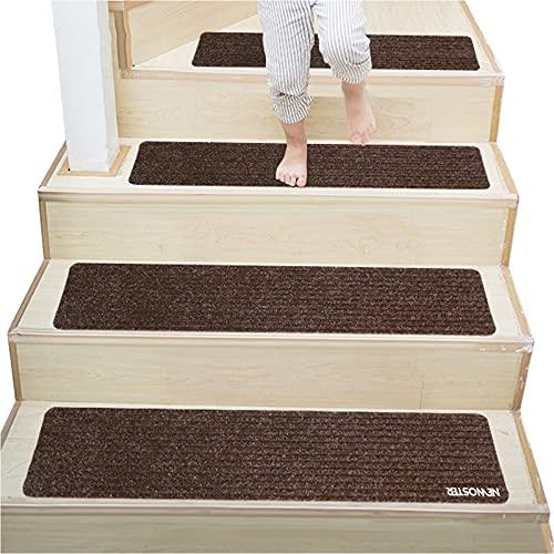 NEWOSTER Alfombrillas Antideslizantes de Madera de 20,3 x 76,2 cm para Interiores y escaleras de Madera, Antideslizantes, Reutilizables, Autoadhesivas (marrón, 7)