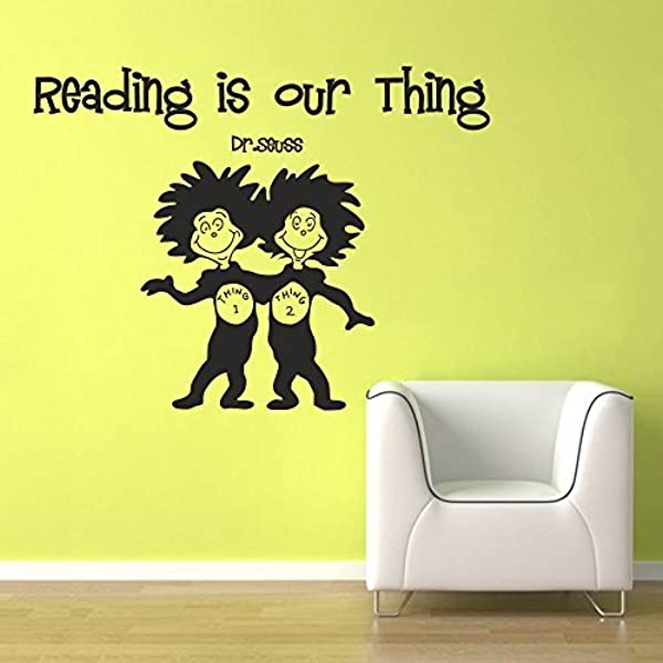 Wall Decal Decor Wall Decal Quote Dr Seuss Reading Is Our Thing Reading Room Kids Room Baby Nursery Wall Art Sticker Dark Brown 17 H X22 W