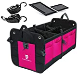TRUNKCRATEPRO Premium Multi Compartments Collapsible Portable Trunk Organizer for auto, SUV, Truck, Minivan (Black) (Regular, Pink)