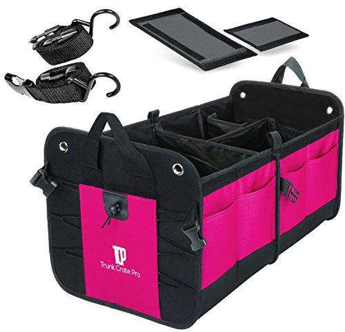 TRUNKCRATEPRO Premium Multi Compartments Collapsible Portable Trunk Organizer for auto, SUV, Truck, Minivan (Black) (Regular, Pink)