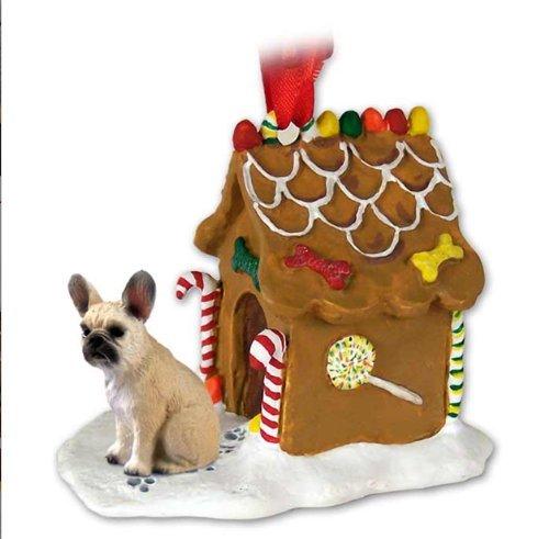 FRENCH BULLDOG Fawn Dog NEW Resin GINGERBREAD HOUSE Christmas Ornament 73B