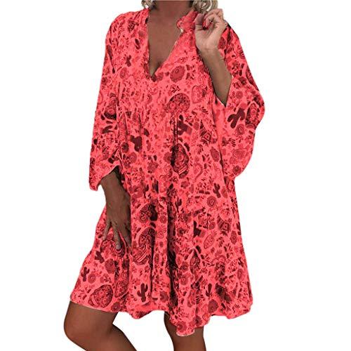 LOPILY Damen größen blumenmuster kleider boho style plus größe sommerkleider x5_rot 50 us