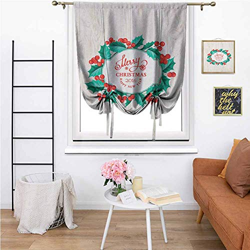 Christmas Premium Blackout Roman Curtains Happy New Year Celebration Theme Mistletoe Round on a Wooden Board Print Breathable W35 x L64 Inch Green Red Beige