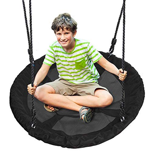 Outdoor Spinner Saucer Tree Swing - Hanging Tree Round Circular Flying Saucer in Rope Straps w/ Cushion Padded Metal Frame, Polyester Fabric Seat, Great for Kids, Adult - SereneLife SLSWNG100