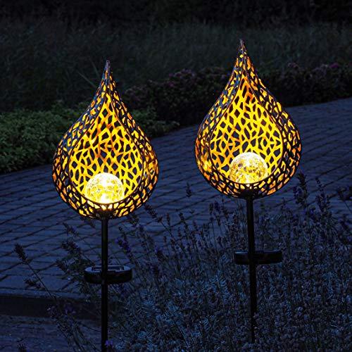 Gadgy Solar Gartenleuchten mit Erdspieß Tropfen | Set mit 2 Stück | LED Gartenstecker aus Metall | Gartendeko für Außen | Leuchten für den Garten