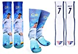 Forever Fanatics Ronaldo #7 Soccer Crew Socks  CR7 Cristiano Ronaldo Autographed One Size Fits 6-13  Ultimate Soccer Fan Gift (Size 6-13, Ronaldo #7)
