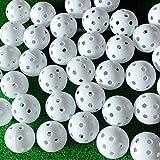 Adwikoso Lot de 50 balles d'entraînement en plastique avec 2 tees pour balle de golf - Airflow creux - Pour intérieur - Putting Green - Équipement d'entraînement en plein air, White 50Pcs