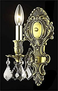 Sage Antique Bronze Traditional 1-Light Wall Sconce Heirloom Handcut Crystal in Silver Shade (Grey)-8161W5AB-SS-RC--5